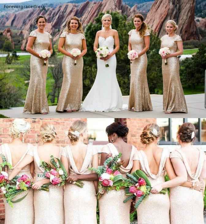 Bohemian   Bridesmaid     Dresses   2019 Sequins Long Summer Country Garden Formal Wedding Party Guest Maid of Honor Gowns Plus Size
