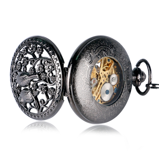Vintage Retro Black Stainless Steel Case Love Bird Hollow Pocket Watch Mechanical Hand Wind Gift For Men Women With Chain