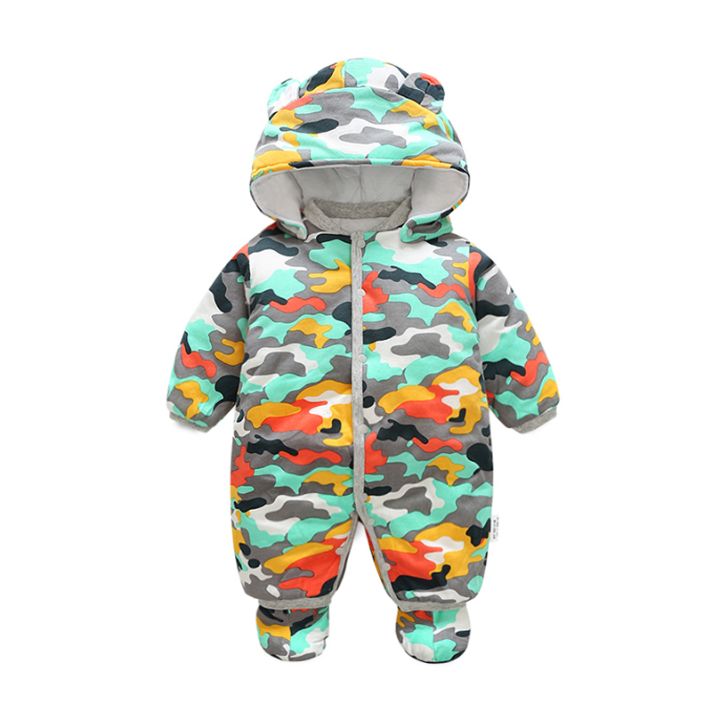 Baby Rompers Winter Baby boy Clothing Long Sleeve Hooded Jumpsuit Kids Newborn Outwear Thick Warm Baby Clothes Rompers for 0-12M children s winter rompers overall for kids pink blue warm coral velvet long sleeve jumpsuit bear baby clothes for kids