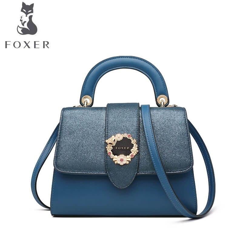 515af068767e FOXER 2019 новая кожаная сумка через плечо женская модная сумка  дизайнерская сумка женская