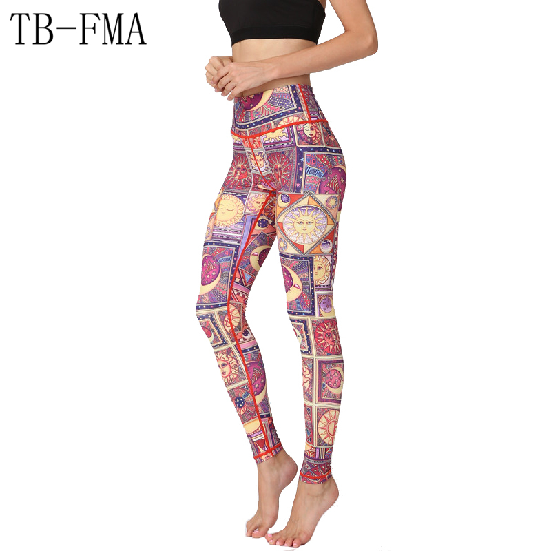 Floral Print pants women sportswear High Waist Compression Yoga Pants Wide Waistband Quick Dry Fabric Sports Skinny leggings