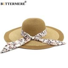 BUTTERMERE Ladies Straw Hats Flower Women Sun Hat 2019 Summer Khaki Wide Brim 13cm Female Fashion Foldable Beach