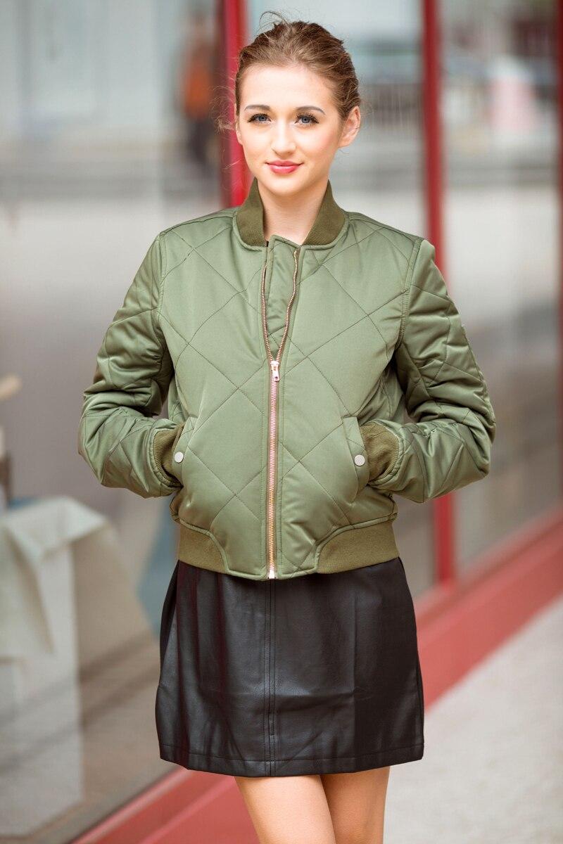 Bella Philosophy autumn winter quilting bomber jacket women coat zipper long sleeve winter jacket cotton-padded pink outwears