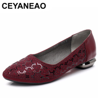 CEYANEAO Genuine Leather Spring Summer Loafers Women Casual Shoes Moccasins Soft Ladies Footwear Women Flats Shoes FemaleE1084