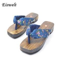 Модные Горячая леди бидентатный Вьетнамки цветок сандалии тапочки обувь японские гэта Сабо женские летние деревянные шлепанцы # SJL362