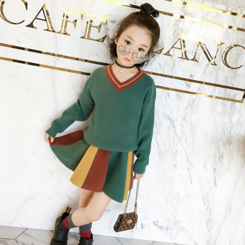 2017 New Autumn Girls Suits Children  V Collar Sweater Kids Long Sleeve Knitted Shirt Skirt  Toddler Two Pieces Set,2-8Y,#2375 381725 polymer lithium battery 3 7v cel 110mp3 battery bluetooth battery lithium battery