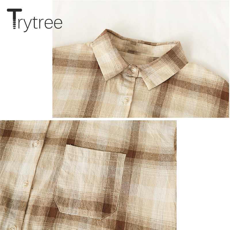 Ttytree 2019 Spring Summer Blouses Casual cotton shirt Women Turn-down Collar Tops Plaid Polyester Shirts Casual Soft Blouse