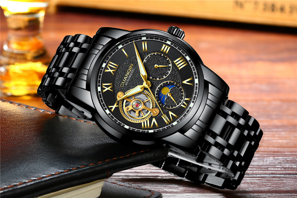 GUANQIN Top Brand Watches Mens Water Resistant Luminous Automatic Watch Skeleton Tourbillon Mechanical Wristwatches Black Clock (3)