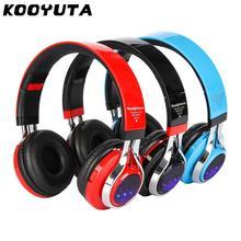 KOOYUTA Auriculares estéreo con Bluetooth y luz LED, Auriculares deportivos inalámbricos con micrófono, Auriculares con función TF y FM
