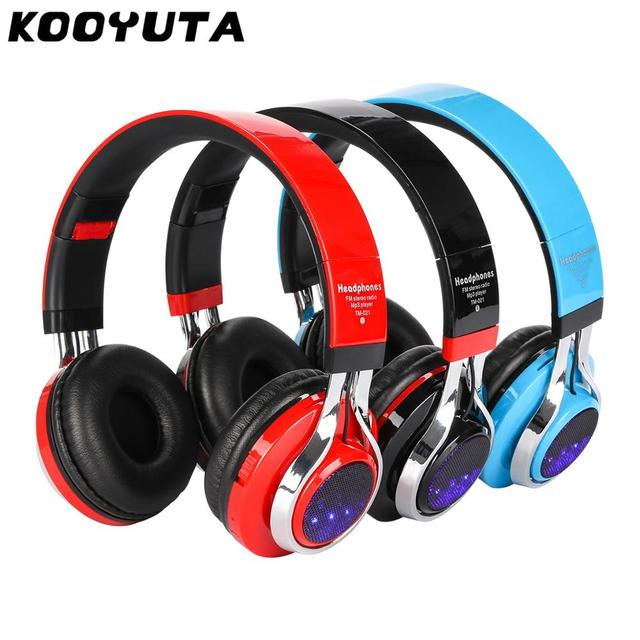 KOOYUTA Glowing Stereo Casque Audio Bluetooth Headphone Wireless LED Sport Headset with Mic Support TF&FM Function Auriculares