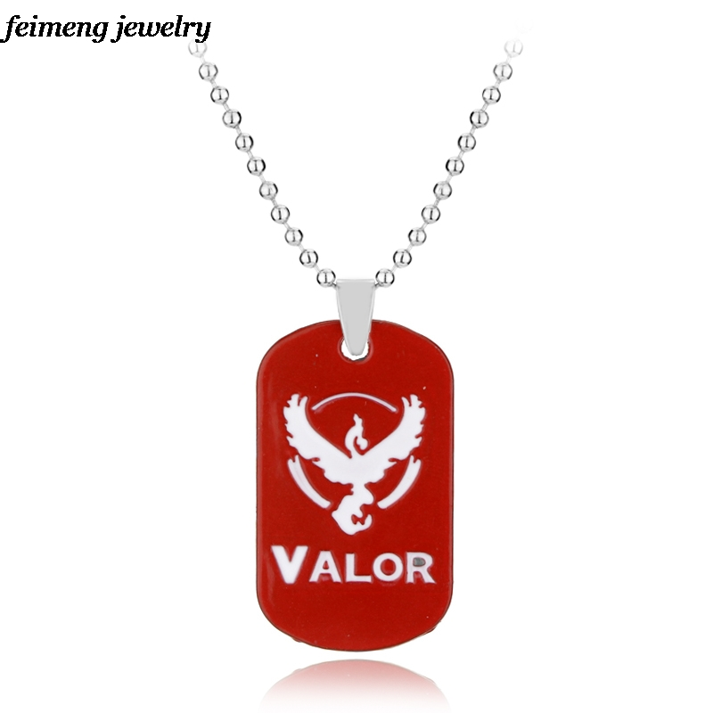 New Pokemon Go Dog Tag Necklace Game Anime Metal Team Valor Mystic Instinct Logo Bead Chain for Women and Men Fans