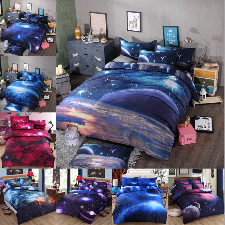 Bedclothes 3d galaxy bedding sets twin queen size universe for Outer space bedding