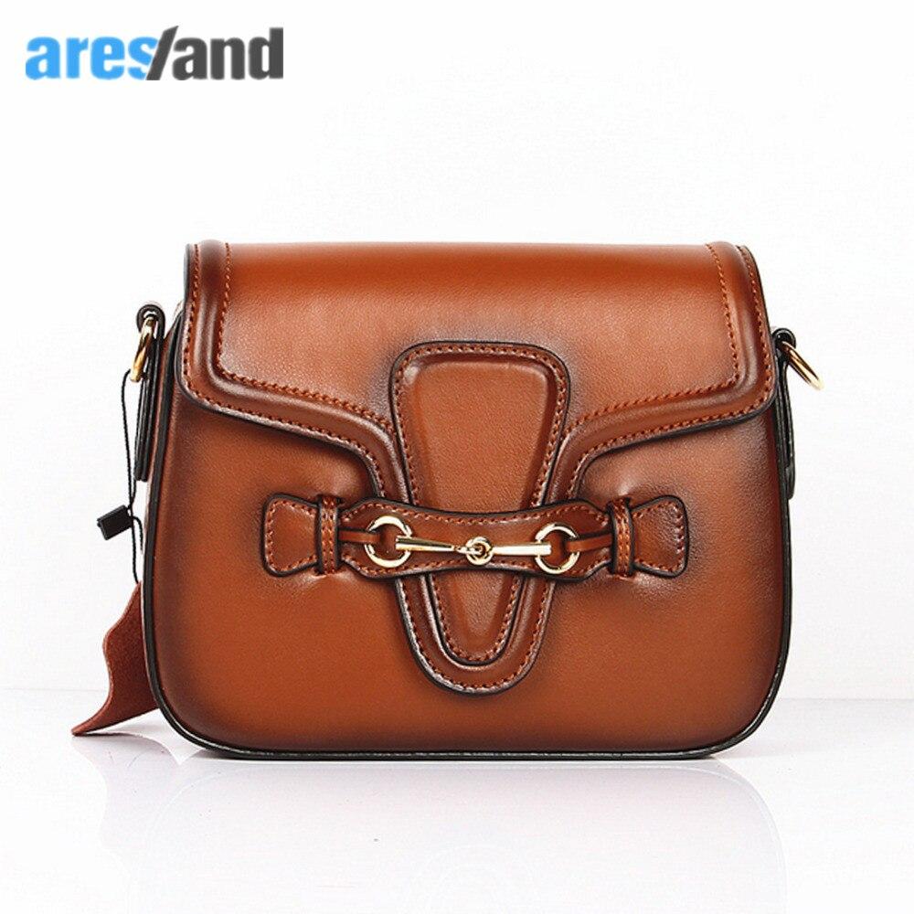 Aresland 2017 New Saddle Cow Hide Fashion Women Bag Vintage Women s Handbags Female Shoulder Bags