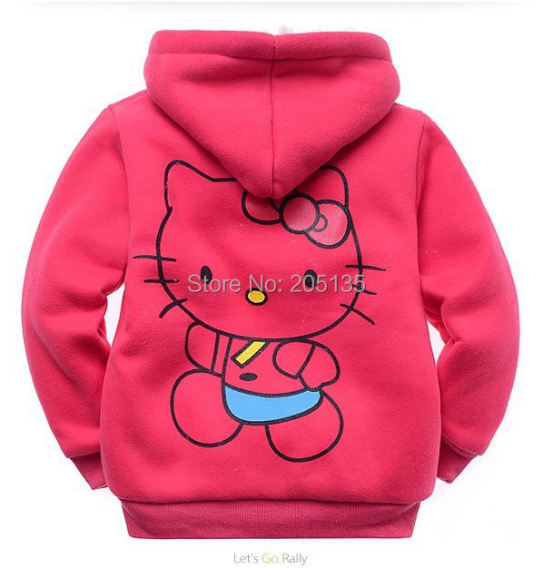 YMLBID 2017 Baby girls Hello Kitty coat Hooded  fur Sweater Winter Warm Jacket Children outerwear kids clothes retail 1