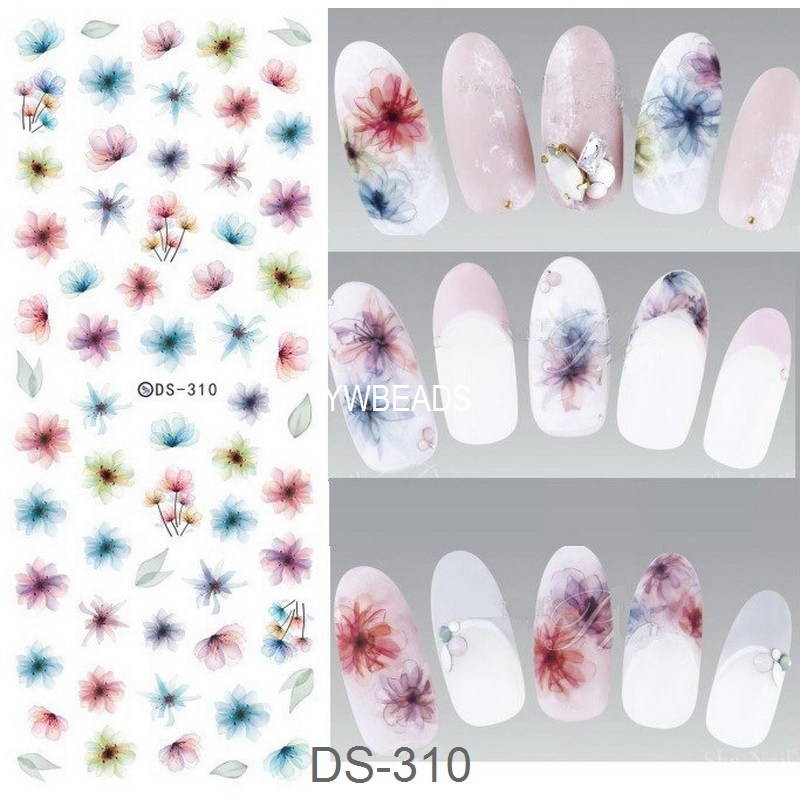 1 Piece Colorful Flower Plant Heart Shell Peacock Feather Water Transfer Decal Manicure Nail Art Sticker DIY Nail DS-307-DS-316