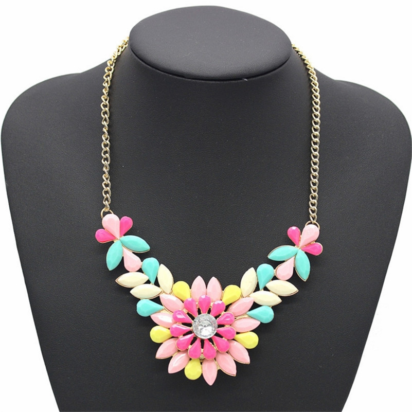 Big Jelly Color Flower Crysatl Choker Necklace For Women Bohemian National Sweet Wild Princess Maxi Necklace Cloth Accessories