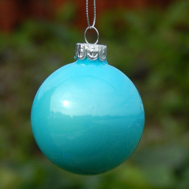 Gran embalaje cielo azul hecho a mano colgantes de cristal de Navidad pintura a mano bola de Navidad decoración del hogar - 4