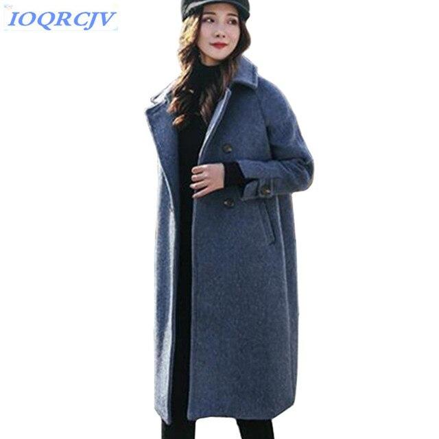 New Autumn winter woman Woolen cloth Jacket coat loose long coat thick warm clothes Big yards woollen ladies coats IOQRCJV N056