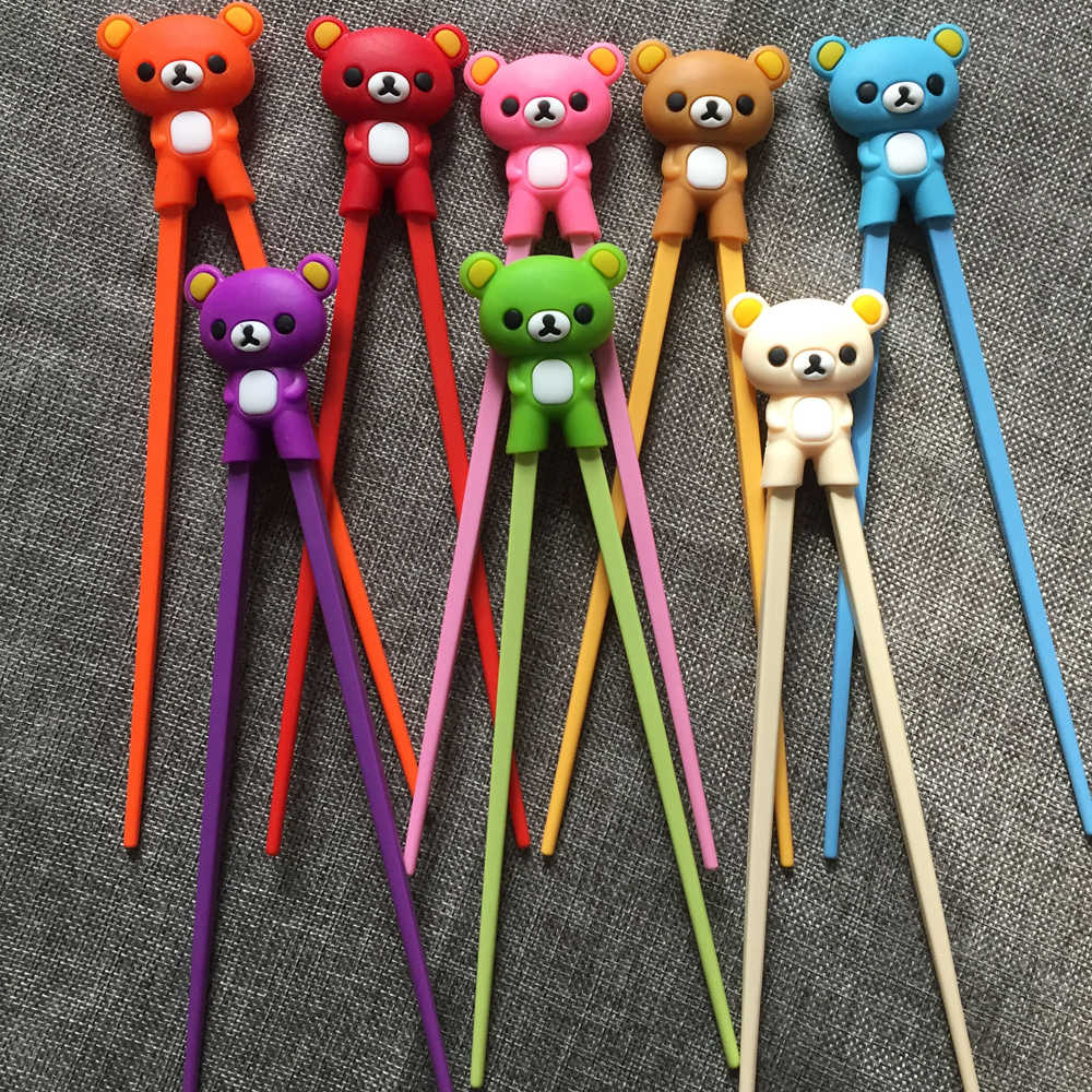 Hot Sale 1 Pair Multi Color Cute Bear Panda Cat Minions Learning Training Chopstick Kid Children Chinese Chopstick Learner Gifts