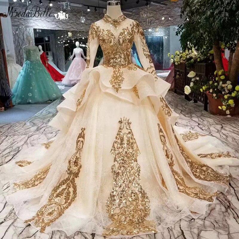 Modabelle arabie saoudite 2019 robe de soirée Avondjurken Sequin dentelle musulmane à manches longues robes de soirée formelles Avond Jurken