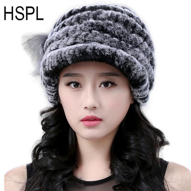 5f80ad3c HSPL Russia Fur Hat 2019 Women's Fashion Winter Hats Ladies Knitted  Baseball Cap Female Western Womens Luxury Furry Fur Cap