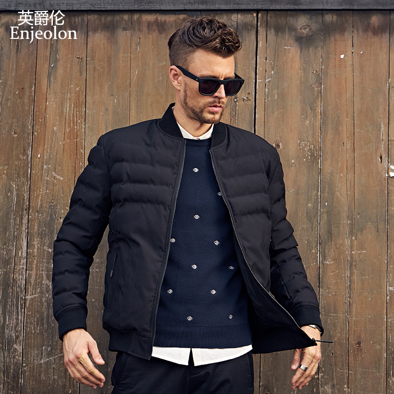 Enjeolon Brand Winter Cotton Padded O Neck Jacket Men Thick Parka Coat Male Quilted Winter Jacket Coat 3XL MF0291
