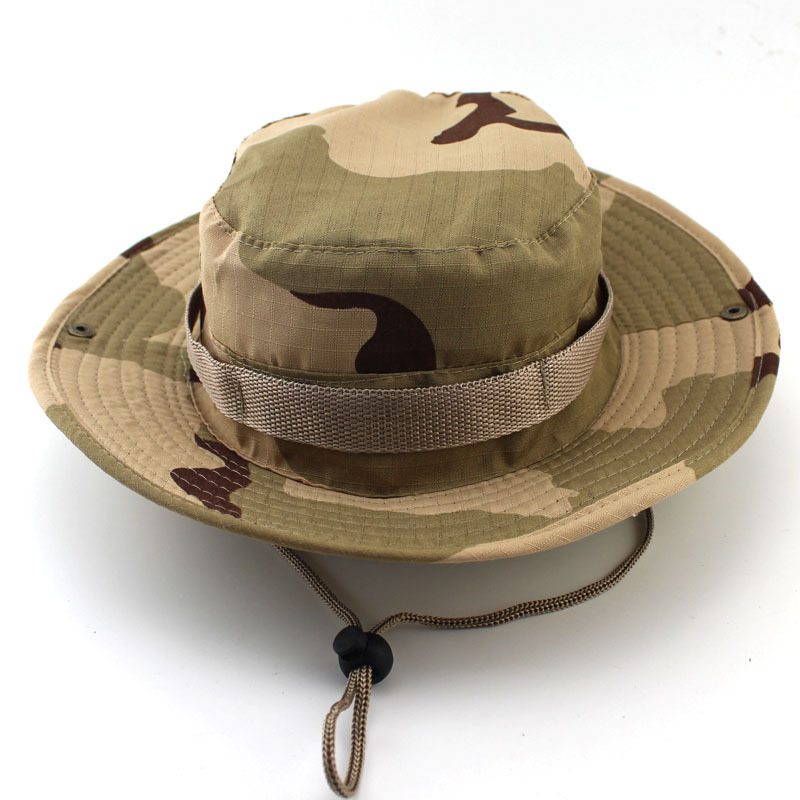 79ac8df283a0c Men's Cotton Army Camouflage and Solid Bucket Hats Sunscreen Hats ...