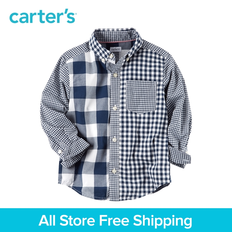Carter's 1pcs baby children kids Checkered Button-Front Shirt 243G979,sold by Carter's China official store button front frilled detail top