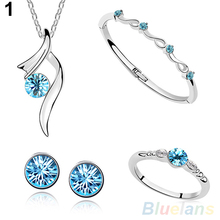 2017 New ArrivalSumptuous Fashion Bridal Crystal Pendant Necklace Bangle Ring Stud Earrings Jewelry Sets