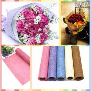 Konopna bawełniana tkanina lniana tkanina włókno tekstury kwiatowy okłady papier do pakowania kwiatów opakowanie na prezent bożonarodzeniowy 5 stoczni * 48cm materiały florystyczne