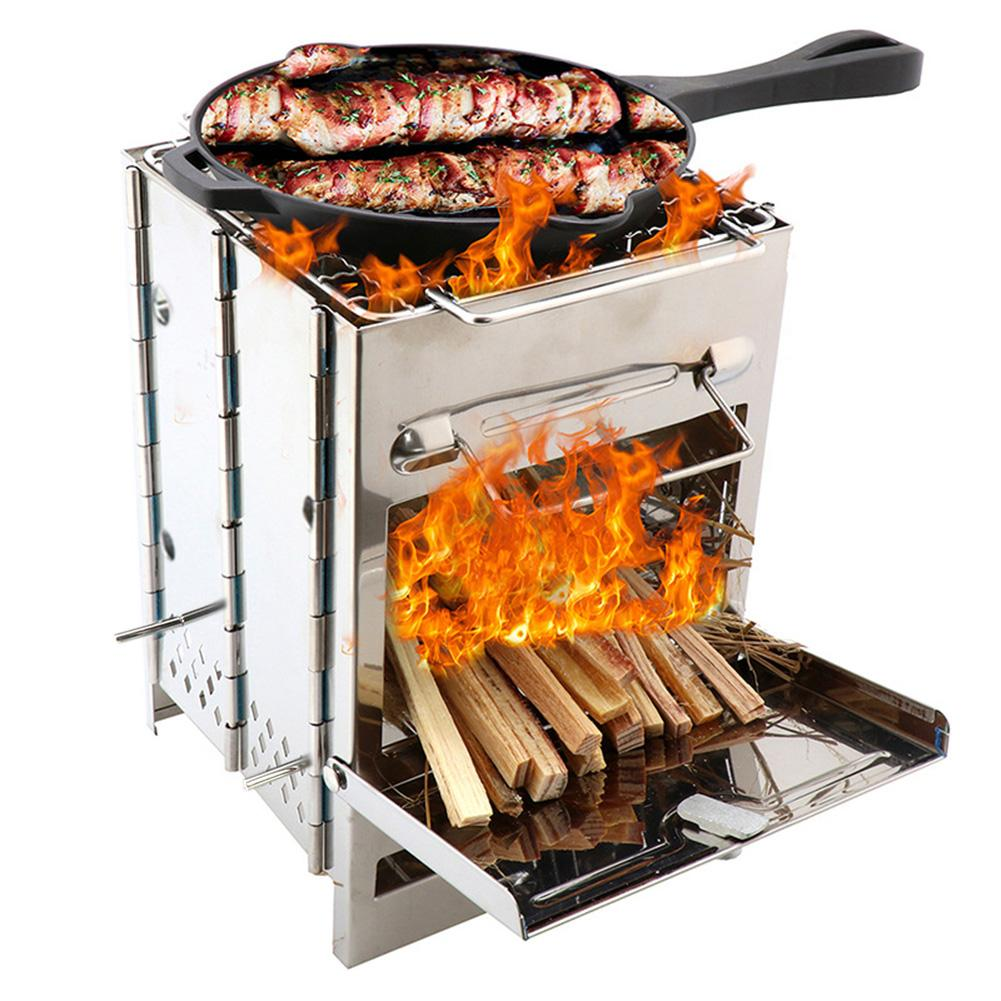 New Outdoor BBQ Barbecue Stove Stainless Steel Camping Grill Portable Mini Wood Lightweight Cooking Folding Backpacking Picnic