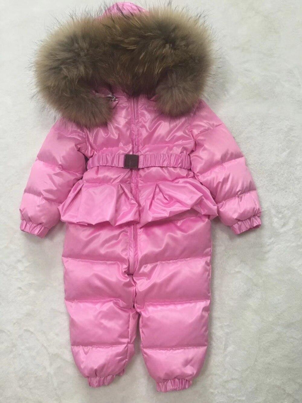 2018 для RU Зима белая утка вниз ребенка комбинезон зимний комбинезон для маленьких девочек розовый цельный наряд Детская вниз Костюмы