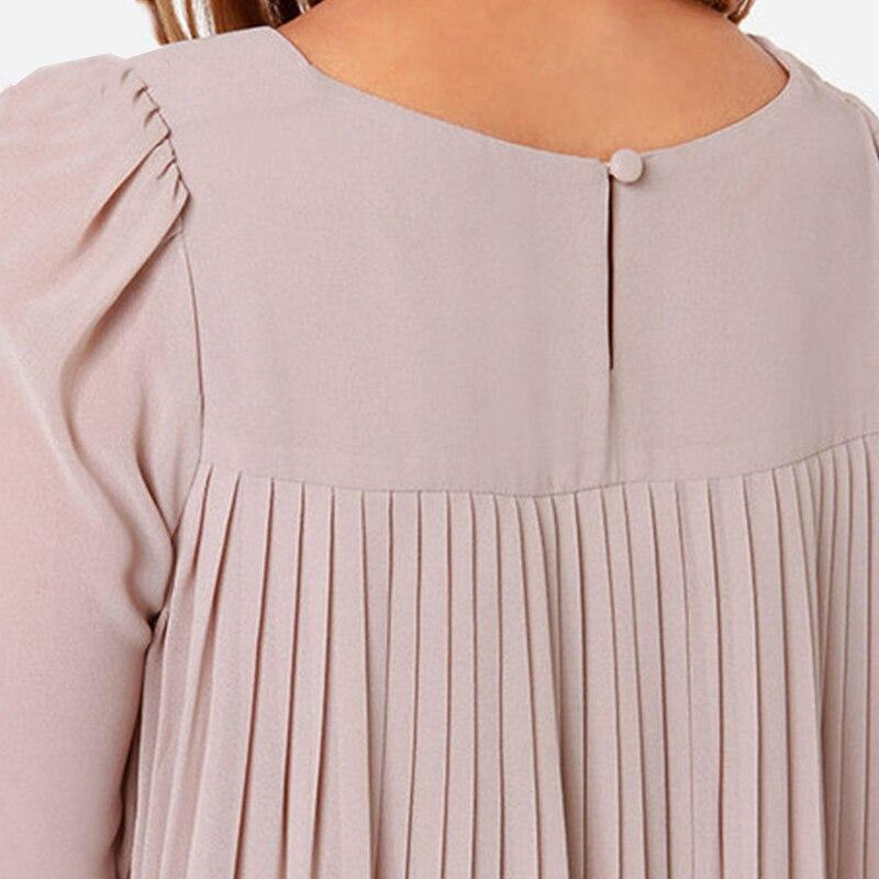 2015 Новая Мода Женщины Блузка Европейский Стиль Шифон Блузки Дамы Офис Рубашки С Длинным Рукавом Плиссированные Назад Женщины Топы WQE3512 * 36