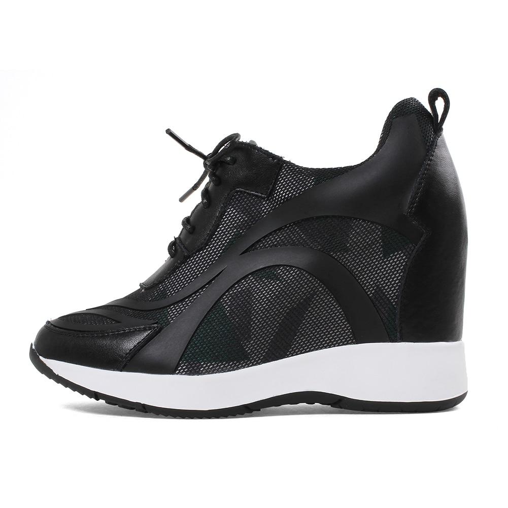 DORATASIA ขนาดใหญ่ขนาด 32 40 แฟชั่น lace   up รองเท้าผ้าใบผู้หญิงของแท้หนังฤดูใบไม้ร่วง 2019 สาวรองเท้าผู้หญิงความสูงเพิ่มขึ้น-ใน รองเท้าส้นเตี้ยสตรี จาก รองเท้า บน   3