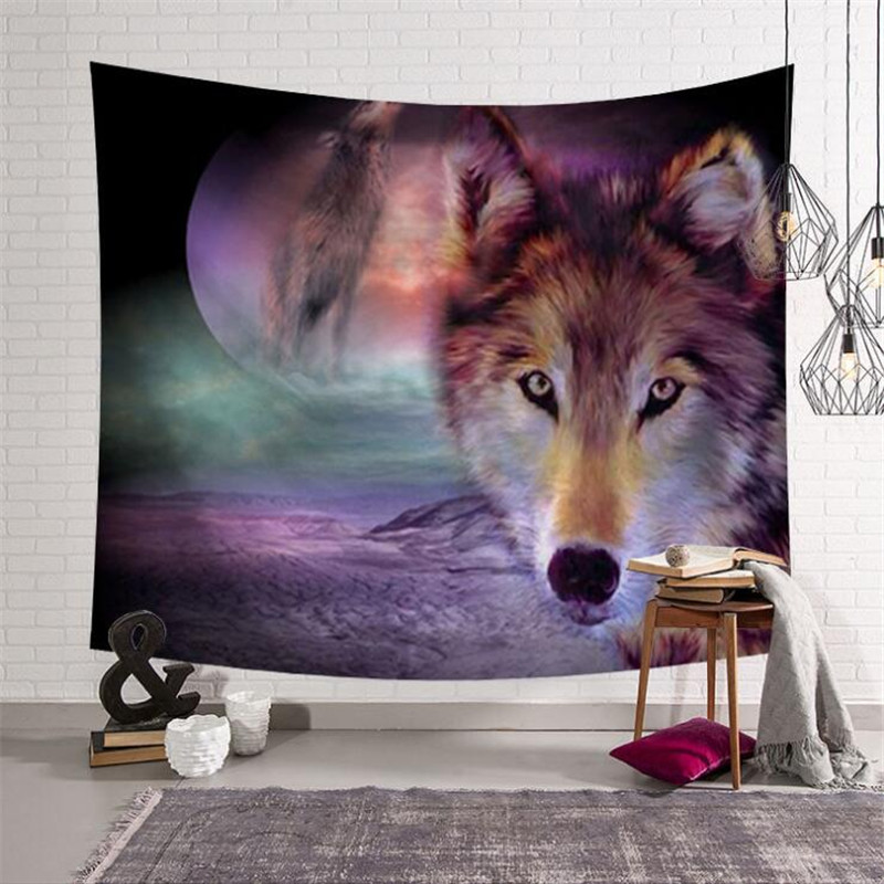 Fashion Living Room Home Decoration Wall Hanging Tapestries Wolf Patterns Colored Printed Tapestry w3-new-LS-YX001-10