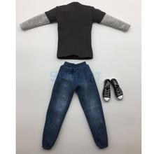 1/6 Scale Mens Outfits Clothes Dark Gray Long T-shirt Jeans and Canvas Shoes Set for 12inch Hot Toys Action Figure Accessories