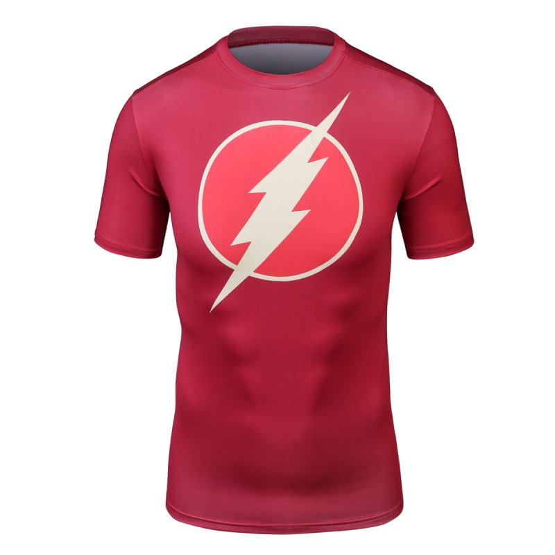 Red Plume Mens Flash-Man Shirt Hero Sports Exercise Fitness Compression Short Sleeved T-shirt Sports Running Fitness Shirt