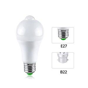 Image 4 - E27 LED Gece Işıkları Lamba PIR Hareket sensörlü ışık AÇıK/KAPALı Aydınlatıcı B22 Lampe LED Ampul Vücut Hareket Dedektörü luminaria