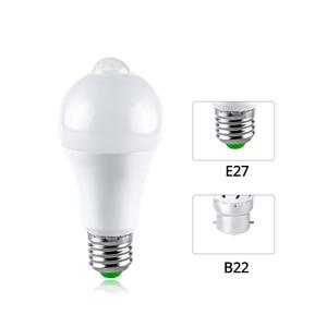 Image 4 - Lámpara LED de noche E27 con Sensor de movimiento PIR, iluminador de encendido/apagado, bombilla LED B22, Detector de movimiento corporal, Luminaria