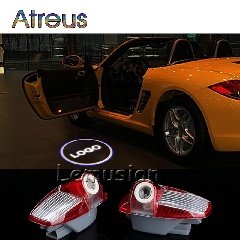 Atreus 2X LED Courtesy Lamp Car Door Welcome Light 12V Projector Shadow Styling For Porsche 997 Panamera 997 Accessories 3528smd car led welcome under door courtesy light lamp bulb auto courtesy light source for volvo c30 v70 xc70 xc90 s60 s80 v60