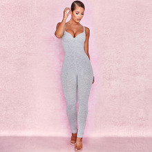 Sexy V Neck Sleeveless Spaghetti Strap Rompers Womens Jumpsuit Robe Slim Solid Overalls Skinny Stretch Bodysuit caged neck skinny solid jumpsuit