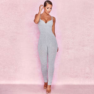 Stretch Bodysuit Robe Overalls Spaghetti-Strap Rompers Womens Skinny Sexy Sleeveless