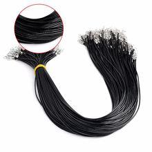 10 шт/лот чёрная кожа Вощеная веревочная цепочка ожерелье с