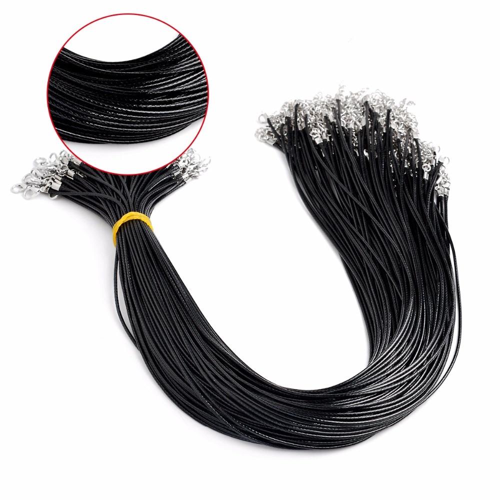 Collar de cadena con código de cera de cuero negro, 10 unidades por lote, collar de joyería DIY con cierre de langosta, accesorios para hacer joyería