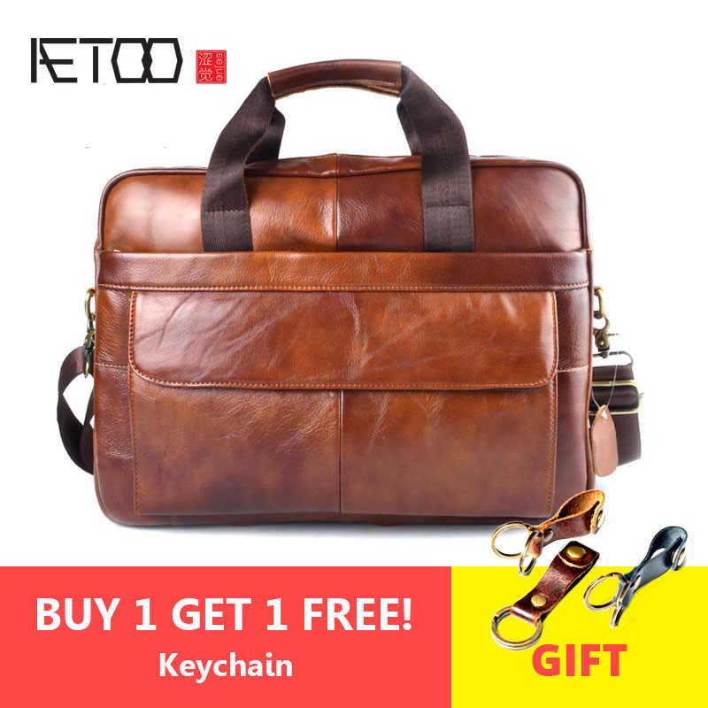 b53466b51ab0 AETOO натуральная кожа сумка для ноутбука сумки из воловьей кожи мужская  сумка через плечо мужская дорожная