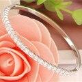 Free Shipping Wholesale 1pc glitter cubic Zirconia charming closed bracelet bangle dia.5.5-6.5 cm silver bangles bracelets TB061