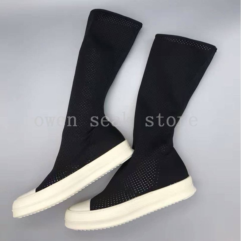 Owen Seak Aankomst Mannen Schoenen Luxe Trainers Stretch Stof Zomer Enkellaarsjes Casual Brand High TOP Flats Zwart Grote size Sneaker-in Casual schoenen voor Mannen van Schoenen op  Groep 2