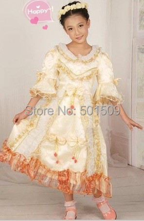 Free shipping childrenu0027s girls medieval light gold royal princess stage costume lace flower renaissance gown dress Halloween-in Girls Costumes from Novelty ...  sc 1 st  AliExpress.com & Free shipping childrenu0027s girls medieval light gold royal princess ...