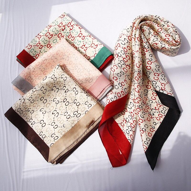 Yishine 70x70CM 4Colors Women Polyester Silk Scarf Patchwork Striped Prints Summer Satin Long Wraps Rhombic Scarves Shawl