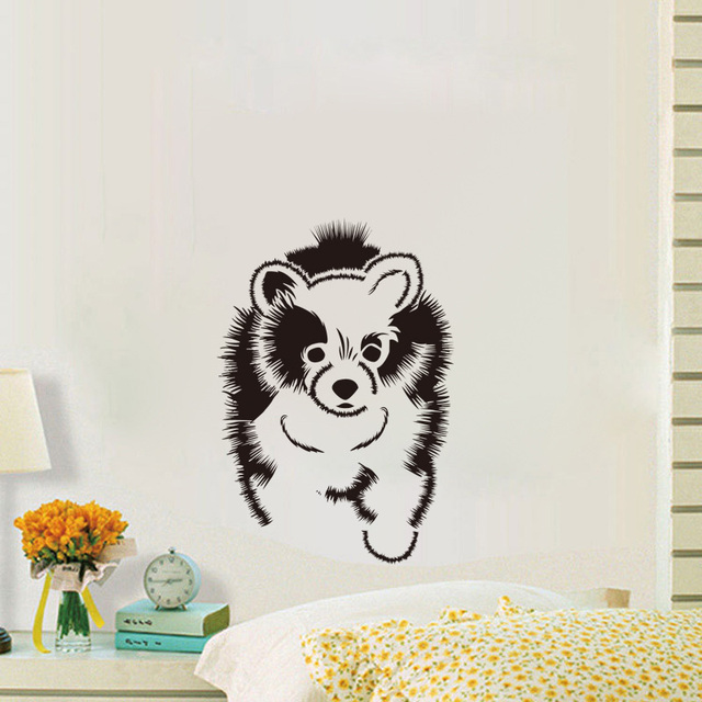 Pomeranian Baby Dog Vinyl Wall Decals Kids Room Cute Dog Wall Paper Bedroom  Art Mural Decals